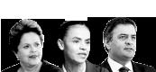 Dilma Rousseff, Marina Silva e Aécio Neves