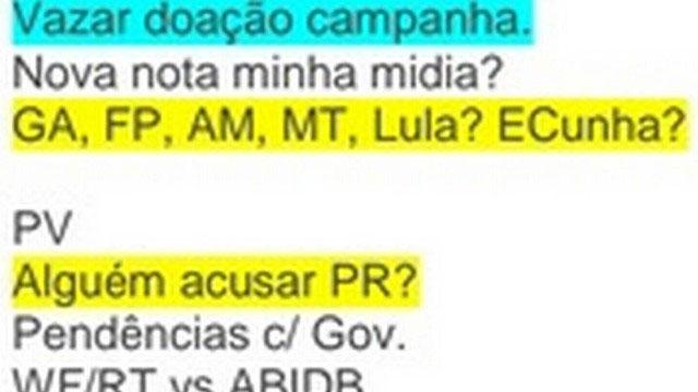 Mensagem no celular de Marcelo Odebrecht menciona doação de campanha - Polícia Federal/Reprodução